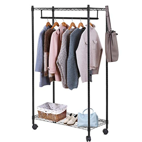 Heavy Duty Clothes Rack Hanging Rod Garment Rack with Wheels Hanging Clothing Rack with Top and Bottom Shelves Rolling Metal Height Adjustable Commercial Grade for Home Bedroom Laundryroom,Black