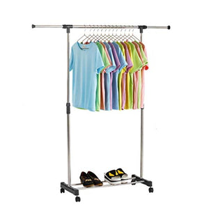 LE Clothes Stand,Stainless Steel Single Rod Clothes Hanger Telescopic Folding Indoor Clothes Rail A