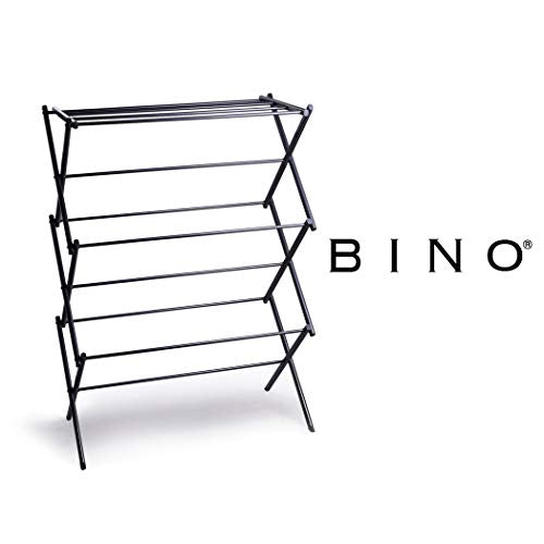 BINO 3-Tier Collapsing Foldable Laundry Drying Rack, Black