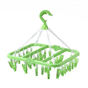 Bigmai Hanging Drying Rack-32 Clips Portable Fold Plastic Clothes Hanger Drying Rack For travel