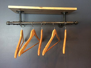 "24"" Clothing Rack, Pipe Rack, Rustic Laundry Rack Sign with a touch Industrial Style With Side Hooks (Stain Options)"