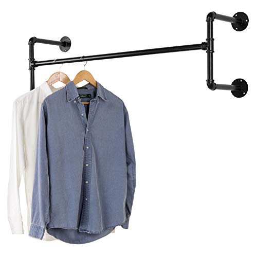 MyGift Industrial Style Black Metal Wall-Mounted Hanging Garment Rack