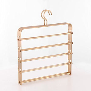 SWEET&HONEY Aluminum Trousers Pants Hanger Cloth Hanger Multi-Functional Metal Multi-Layer Wardrobe Magic Hanger-Golden 32x33cm(13x13inch)