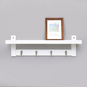 Coat Rack Bamboo Wall Mount Shelf Coat Hook Rack Unibody Construction with Alloy Hooks for Hallway Bedroom,Kitchen,Bathroom and Home Decoration,White,4Hook