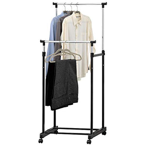 MyGift Adjustable Dual-Bar Rolling Chrome Plated Clothing & Garment Storage Rack, Black