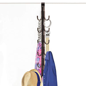 Lynk Over Door Accessory Hanger - Scarf, Belt, Hat, Jewelry Organizer - Vertical 12 Hook Rack - Bronze
