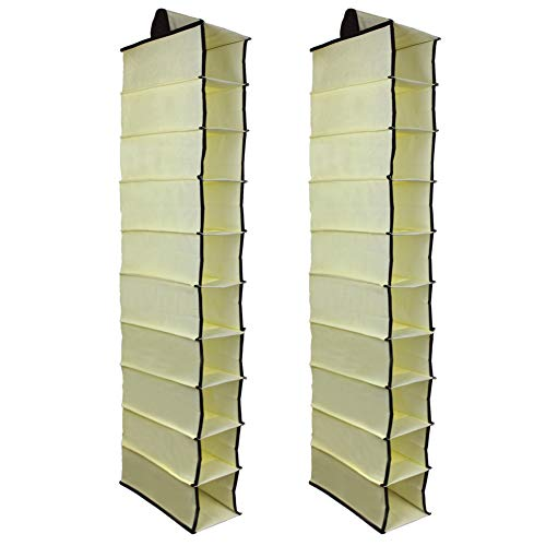KisSealed 2 Pack 10 Shelves Fabric Hanging Closet Storage Organizer, for Shoes, Handbags, Clothes - 6 x 12 x 47 inch (Beige)