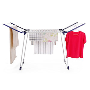 Adjustable Height Clothes Hanging Rail Garment Rack Adjustable Clothes Rail-Winged Folding Clothes Airer-White (Size : L87448cm)