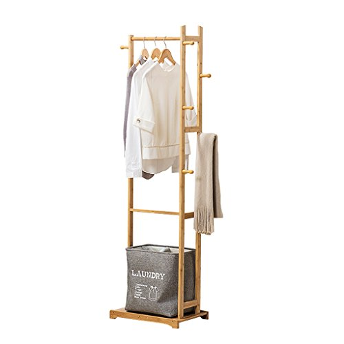 Floor Standing Coat Rack Cabinet Type, Bamboo Clothes/Hat/Shoe Storage Rack Clothing Shelf Multi-Layer Multifunction Hangers Single Rod Type,6 Hook,L47D31H171cm,Wood Color