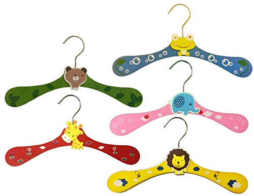 Mr. Unique Home Cartoon Animal Wooden Baby Clothes Hanger Set | 5 Pieces | Lion, Frog, Elephant, Giraffe, Dog designs | | Great for Babies, Kids, and Children's Clothing.