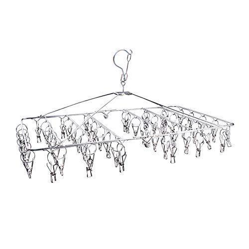 DX DA XIN Clip and Drip Hanger -52 Clips Clothes Drying Hanger for Delicates, Jeans, Sock, Scarf, Gloves, Underwear, Bras, Cloth Diapers - with 20 Metal Clothespins and 6 Self Adhesive Hooks