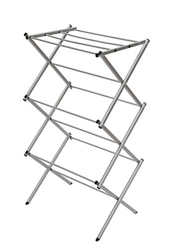 "STORAGE MANIAC 3-Tier Folding Anti-Rust Compact Steel Clothes Drying Rack - 22.44""x14.57""x41.34"", Silvery"