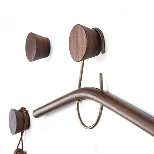2Pcs Natural Wooden Coat Hooks, Wall Mounted Single Cone Wall Hook Rack, Decorative Craft Clothes Hooks (Black Walnut)