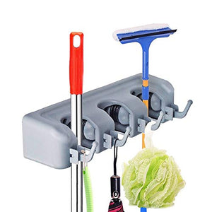 Spubote Broom Holder and Mop Holder Garden Tools Wall Mounted Commercial Organizer Saving Space Storage Rack Mop Holder for for Kitchen Garden and Garage, Laundry Offices (P3)