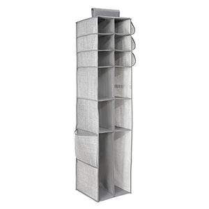 iDesign Aldo Fabric Hanging Closet Storage Organizer, for Shoes, Boots, Handbags, Clutches - 16 Compartments, Gray
