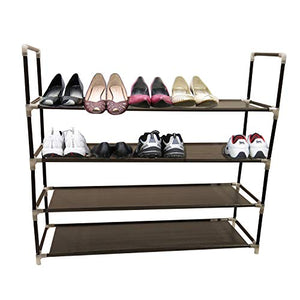 4-Tier Shoe Rack Color Black Organizer Storage Bench Stand for Mens Womens Shoes Closet with unwoven Fabric Shelves & Holds 20 Pairs.Hot Shoe Racks with unwoven Fabric Shelf & Easy Assembly no Tools