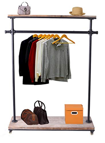 Diwhy Industrial Pipe Clothing Rack Pine Wood Shelving Shoes Rack Cloth Hanger Pipe Shelf Garment Racks (Style 3)