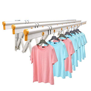 Wgwioo Clothes Drying Rack Balcony Wall Mount, Folding Retractable Clothes Hanger, Capacity 170Kg, Easy to Install,Silver,150×40Cm