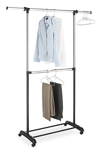 Whitmor Adjustable 2-Rod Garment Rack - Rolling Clothes Organizer - Black and Chrome