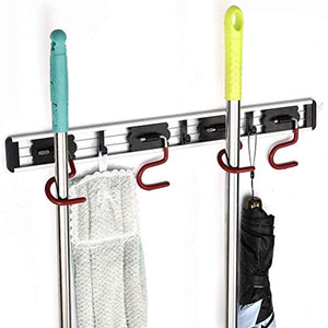 QBOSO Wall Mounted Mop and Broom Holder Stainless Steel S Type Broom Rack Anti-Slip Mop Organizer (17 Inches ,4 Positions 3 Hooks , Red black)