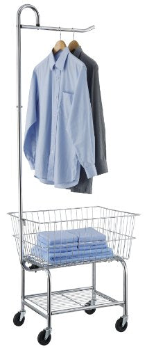 Organize It All Rolling Chrome Commercial Laundry Butler with Storage Rack