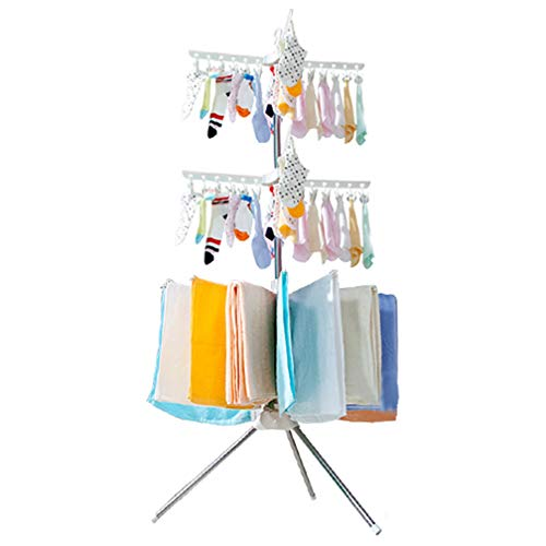Hershii Foldable Clothes Drying Rack Standing Garment Hanger 3-Tier with 48 Clips and 16 Towels Bars Space Saver for Baby Socks, Saliva Towels, Bibs, Underwear, Gloves, Scarves, Diapers