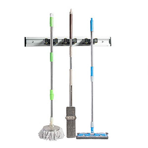 "Home Master Hardware 16"" Broom Mop Holder Garage Storage Organizer with Screws, Multifunctional Wall Mount Aluminum Organizer Kitchen Hanging Garage Shed Tool Rack with 3 Sliding Grippers"