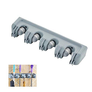 RANRANHONME Mop Broom Holder, (4 Position) Wall Mounted Organizer Storage Hooks Broom Hanger for