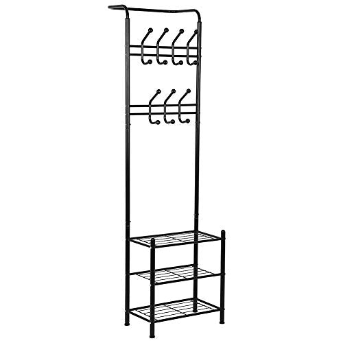 GOTOTOP Metal Entryway Coat Shoe Rack 3-Tier Shoe Bench with Coat Hat Umbrella Rack