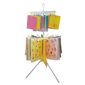 LE Childrens Clothes Hanger,Double Deck Dryer Balcony Clothes Rack Foldable Hanger Drainage Rack A