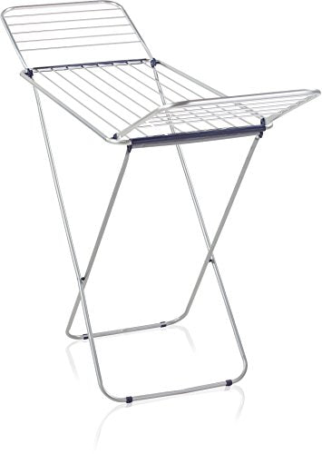 Leifheit Siena 180 Lightweight Winged Clothes Drying Rack, Blue and Silver