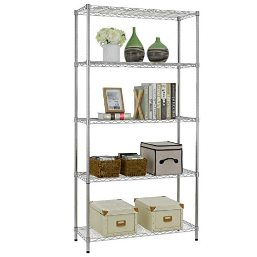 5 Shelf Wire Shelving Unit Garage NSF Wire Shelf Metal Large Storage Shelves Heavy Duty Height Adjustable Utility Commercial Grade Steel Layer Shelf Rack Organizer 1250 LBS Capacity -14x36x72,Chrome