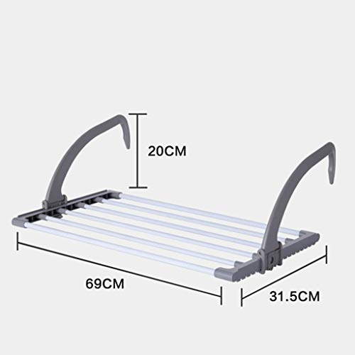 LE Stainless Steel Hanging rods,Balcony Window sill Radiator Clothes Hanger Drying socking Indoor Outdoor Security net Hook Folding Hanging Rack D