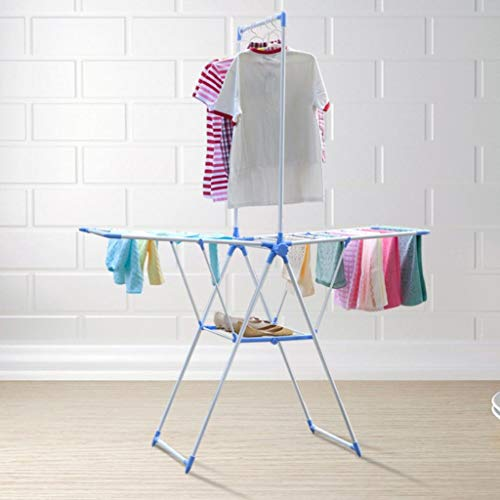 LE Floor Folding Drying Racks, Airfoil Balcony Drying Rack Indoor Hanger Towel Rack Diaper Rack A