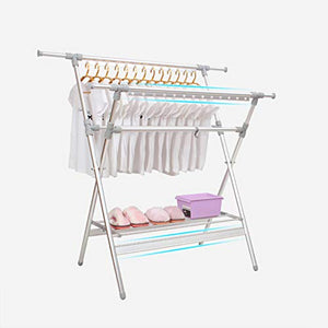 REDHOT X-Type Aluminum Alloy Laundry Drying Rack, Clothes Drying Rack Folding Floor Hanger Retractable Laundry Sweaters Socks Underwear Shoe Holder -B 115x140cm(45x55inch)