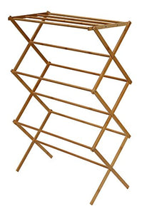 "Cortesi Home Eli Natural Bamboo Clothing Drying Rack, 28.5"" W x 14.5"" L x 43"" H,"