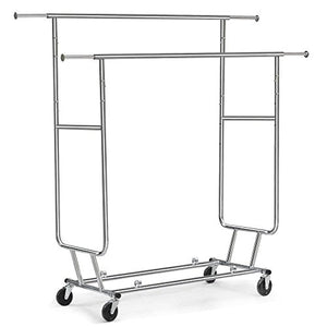 Adumly Commercial Grade Collapsible Clothing Rolling Double Garment Rack Hanger Holder
