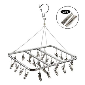 ASPERFFORT Stainless Steel Laundry Drying Rack with 26 Clips,Drip Hanger with Metal Clothespins for Drying Socks,Bras,Underware,Baby Clothes,Socks Clother Hanger
