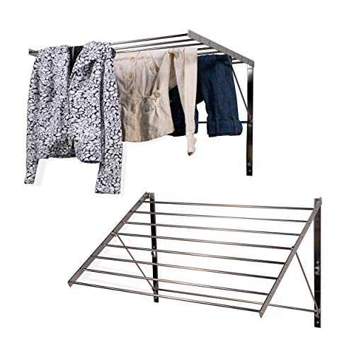 brightmaison Clothes Laundry Drying Racks - 2 Set Rack - Heavy Duty Stainless Steel Wall Mounted Folding Adjustable Collapsible Space Saver 6.5 Yards Drying Capacity