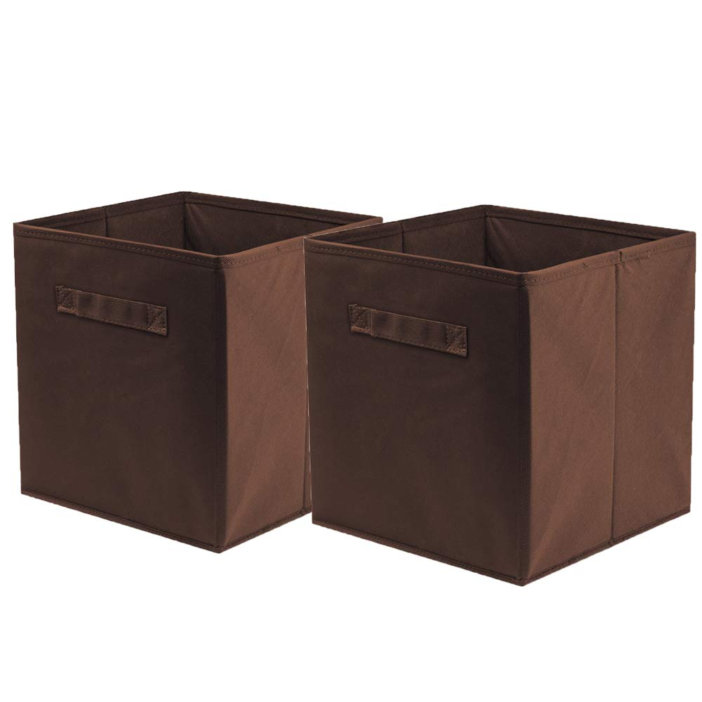 ShellKingdom Storage Bins, Foldable Fabric Storage Cubes and Cloth Storage Organizer Drawer for Closet and Toys Storage,2 Pack(Chocolate)