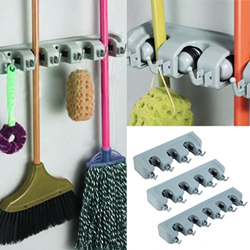 Kingsea Wall Mounted Mop Organizer Holder Brush Broom Hanger Storage Rack Kitchen Tool
