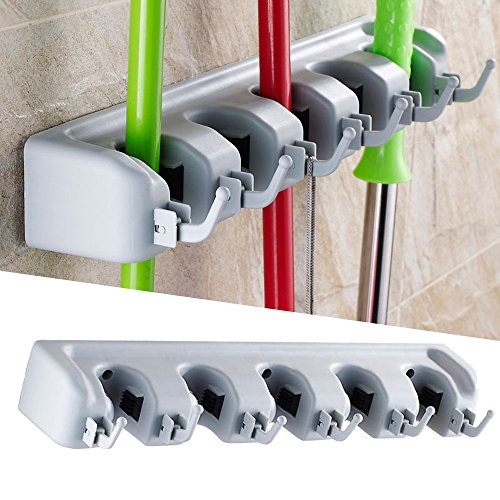Broom Mop Holder Mop and Broom Holder Wall Mounted Mop Organizer Holder Brush Broom Hanger Kitchen Tool Organizer Waterproof Garage Systems for Organizing - 5 Position with 6 Hooks 1PC (Gray)