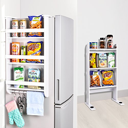 Rack Fridge Wood Organizer Refrigerator Side Storage Rack Paper Towel Holder, Rustproof Spice Jars Rack Kitchen Storage Wrap Rack Organizer Refrigerator Shelf Storage Adjustable Cabinet Door Mount