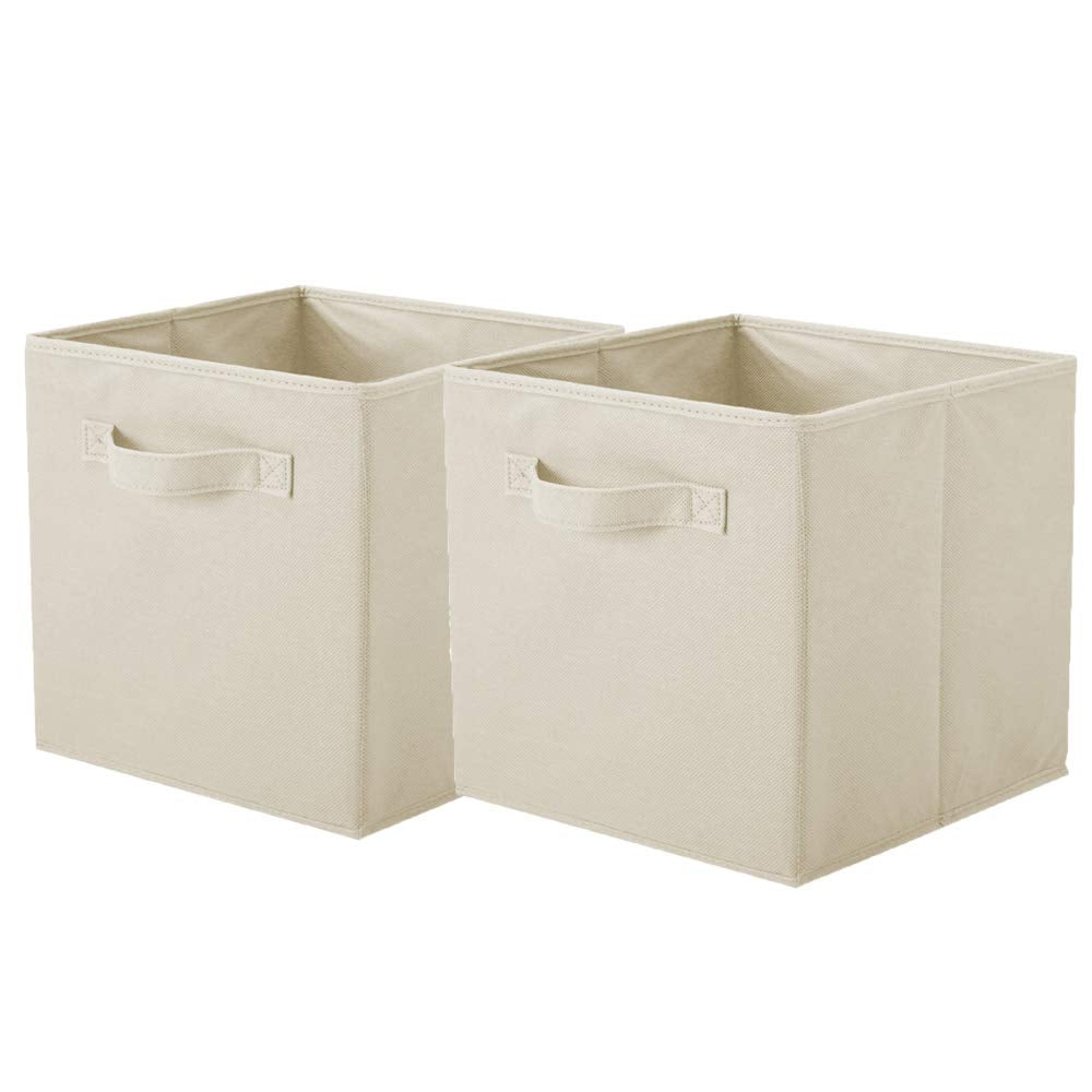 ShellKingdom Storage Bins, Foldable Fabric Storage Cubes and Cloth Storage Organizer Drawer for Closet and Toys Storage,2 Pack(Beige)