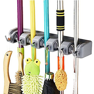 Wall Mount Mop Broom Holder Muti-purpose Storage Rack Garage Storage Garden Tool Organizer With 5 Position 6 Hooks