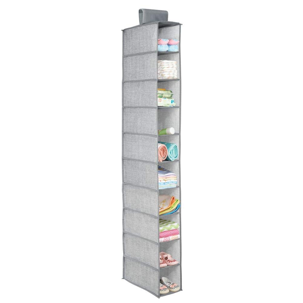 mDesign Soft Fabric Over Closet Rod Hanging Storage Organizer with 10 Shelves for Child/Kids Room or Nursery, Holds Wipes, Diapers, Blankets, Shoes - Textured Print - Gray