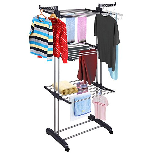 Yeshom Foldable 3 Tier Clothes Drying Rack Rolling Collapsible Laundry Dryer Hanger Stand Rail Indoor Outdoor Dark Grey