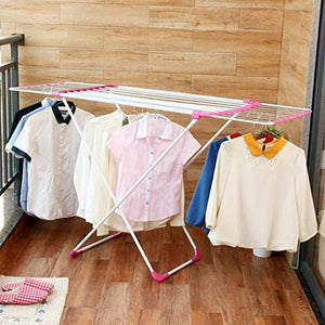 LE Folding Clothes Hanger,Balcony Indoor Sun Shelves Telescopic Drying Racks A