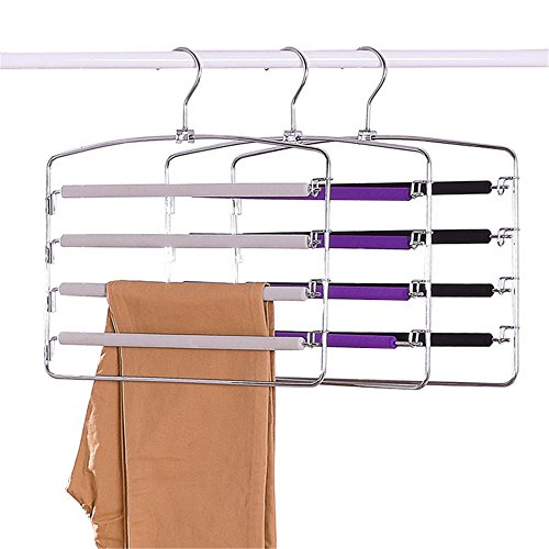 Centralocker 3 PCS Multi-Layer Steel Pants Hanger Metal Frame Swing Arm Slack Trousers Jeans Neckties Rack Space Saver for Wardrobe