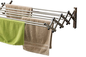 AERO W Space Saver Racks Stainless Steel Wall Mounted Collapsible Laundry Folding Clothes Drying Rack 60 Pound Capacity 22.5 Linear Ft Clothesline